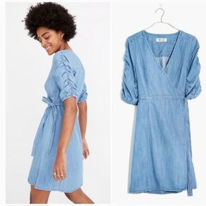 Madewell Dresses - Madewell Light Denim Wrap Dress Size XS